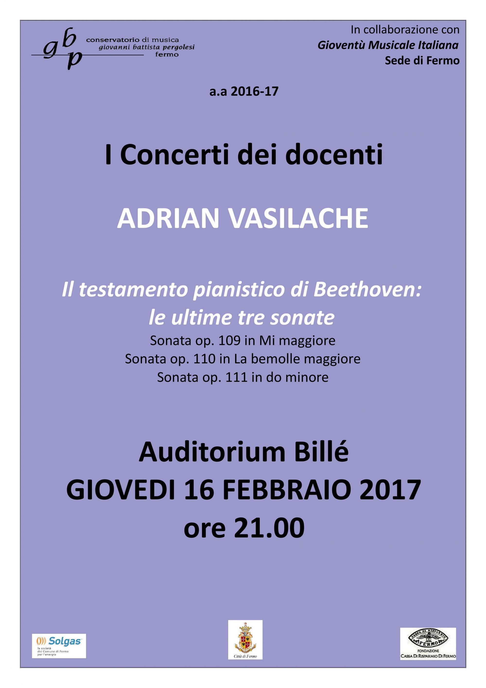 Locandina Concerto Vasilache 16 febb 2017
