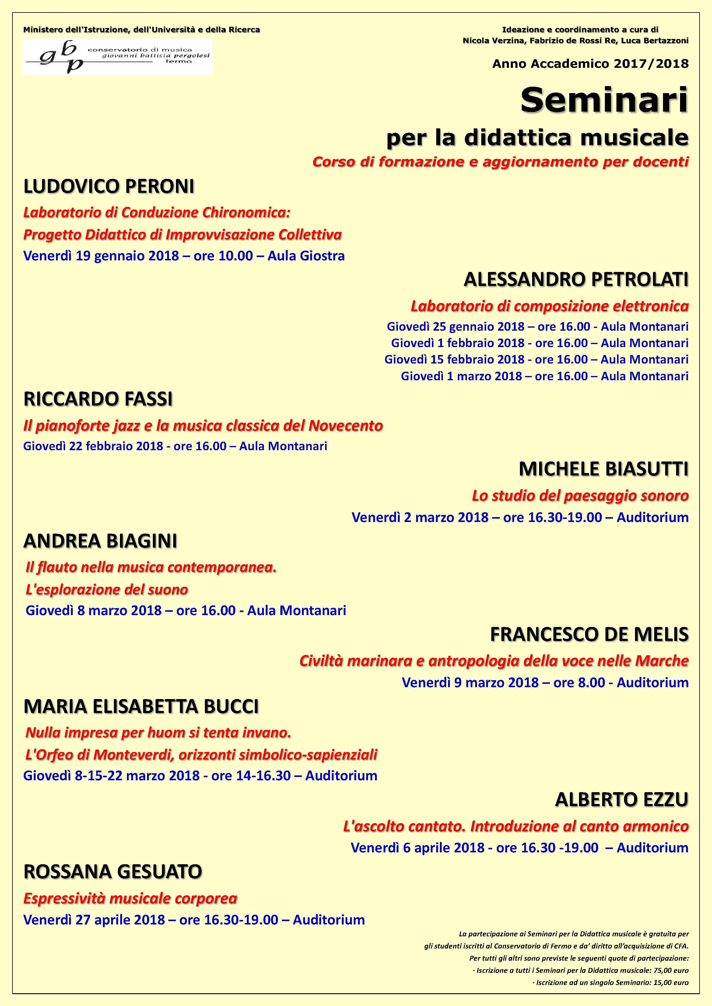 Locandina Seminari didattica 2017-18