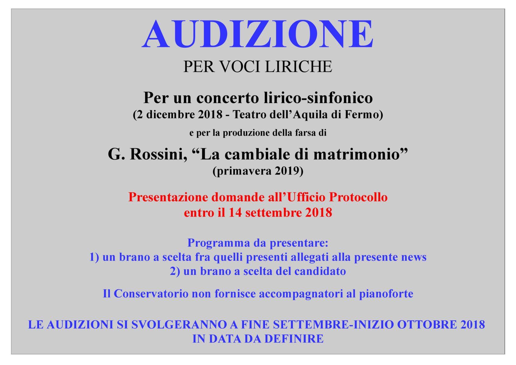 AVVISO AUDIZIONI CONCERTO LIRICO 2 DICEMBRE