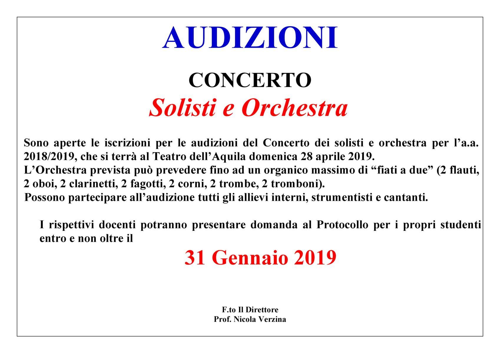 AVVISO SOLISTI E ORCHESTRA 2019