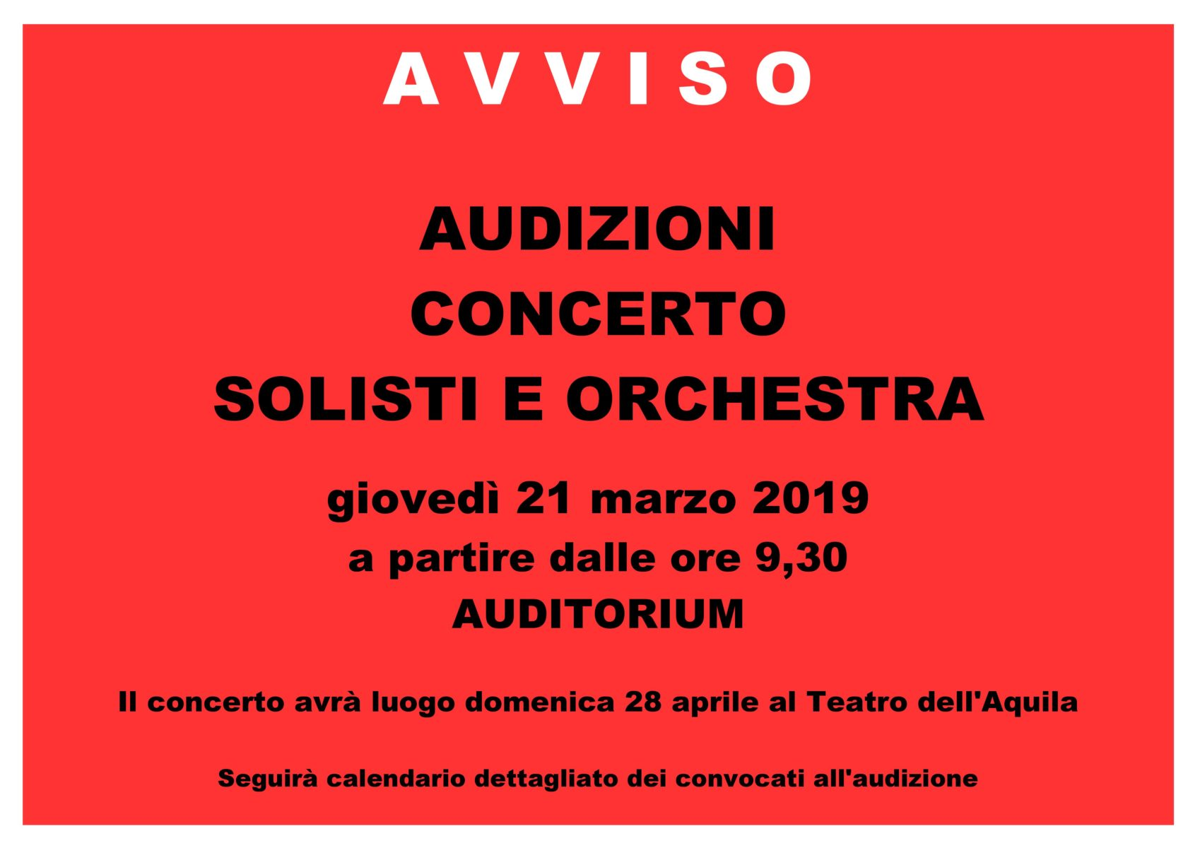AVVISO AUDIZIONI SOLISTI E ORCHESTRA - 2019