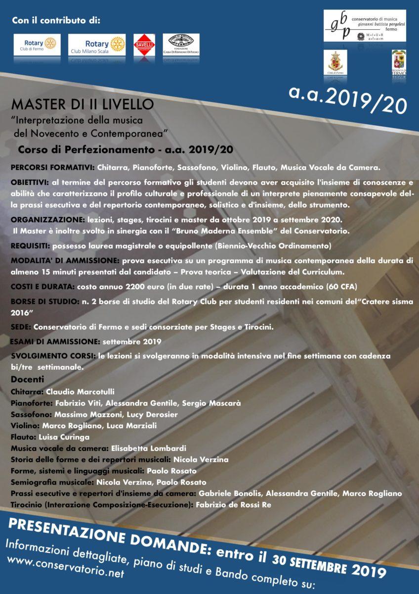 LOCANDINA MASTER FERMO prorogato al 30 sett 2019