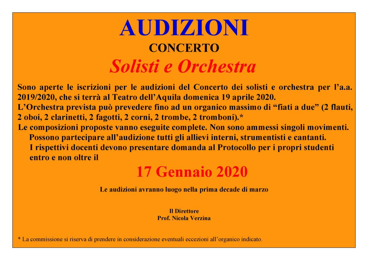 AVVISO SOLISTI E ORCHESTRA 2020