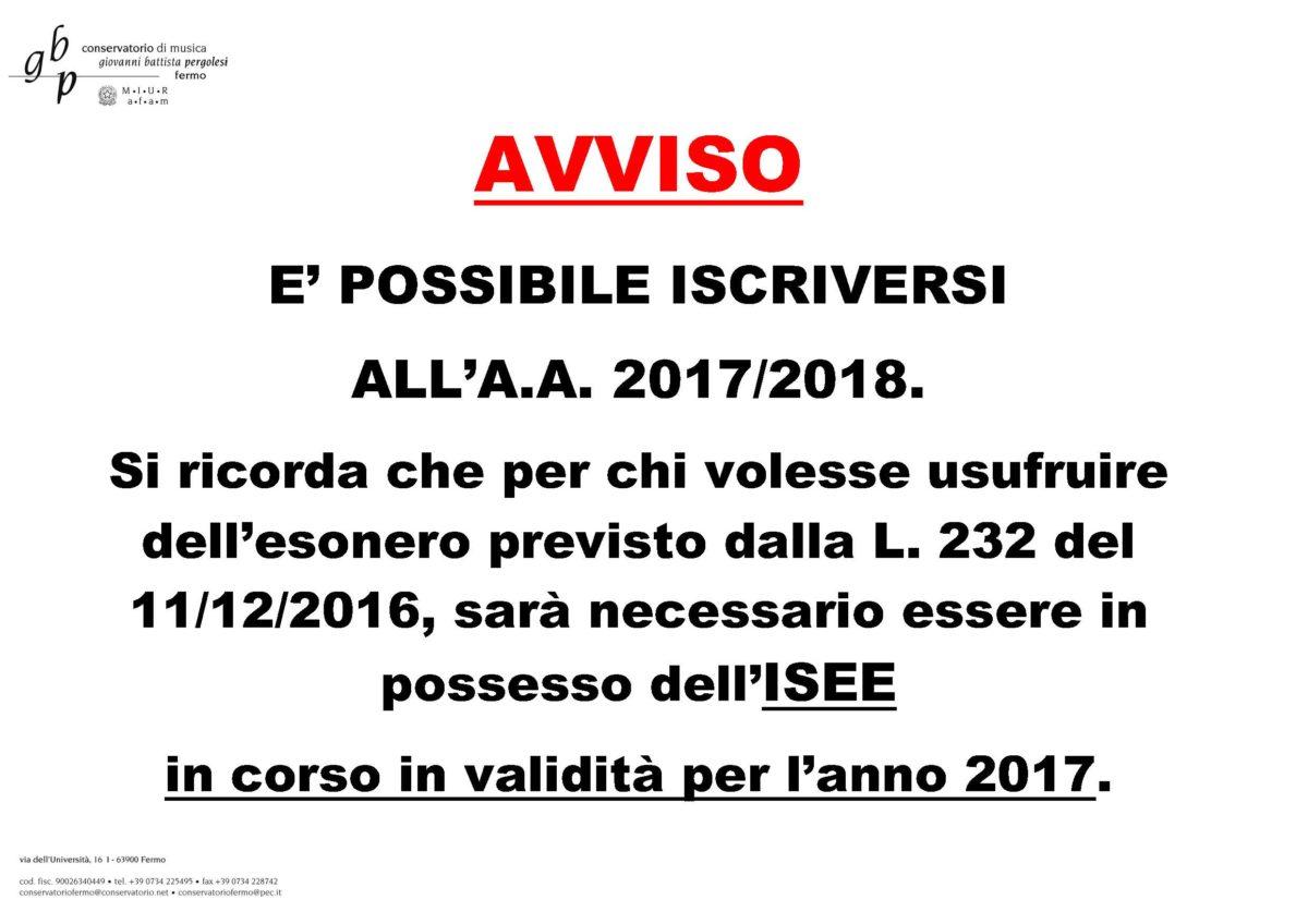 AVVISO ISCRIZIONI A.A. 2017-2018