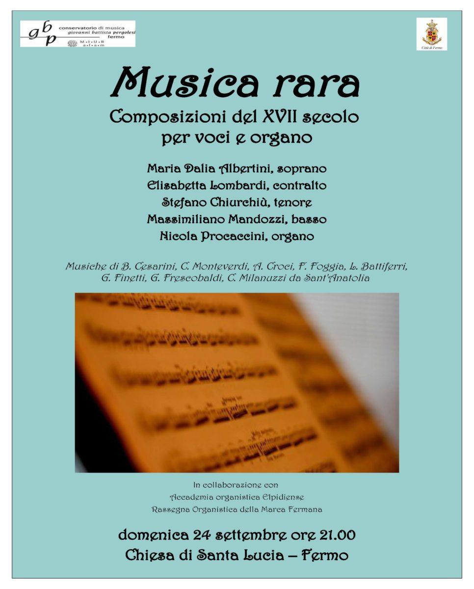Locandina Musica Rara - 24 settembre 2017 -
