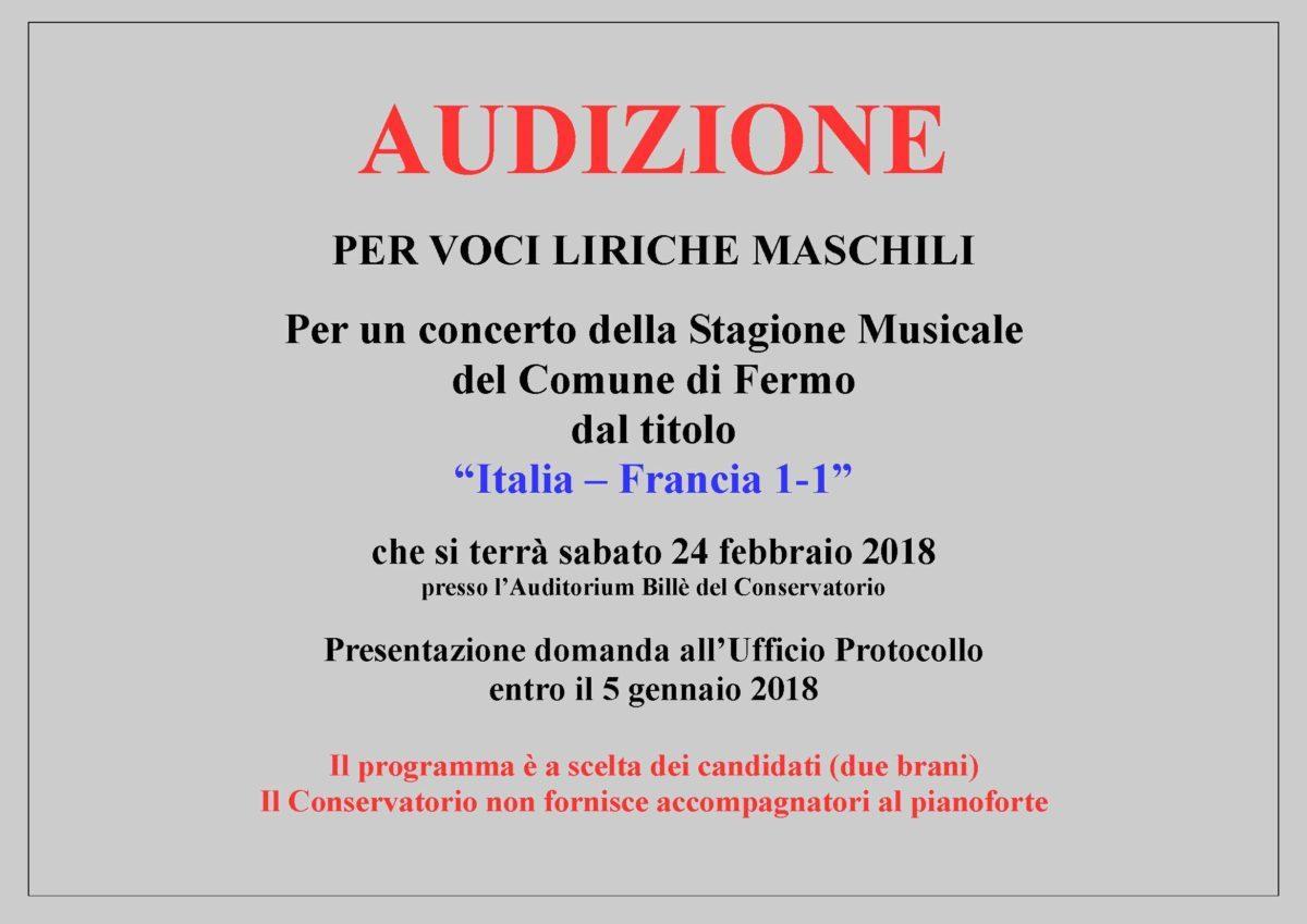 AVVISO AUDIZIONI ITALIA-FRANCIA - voci maschili
