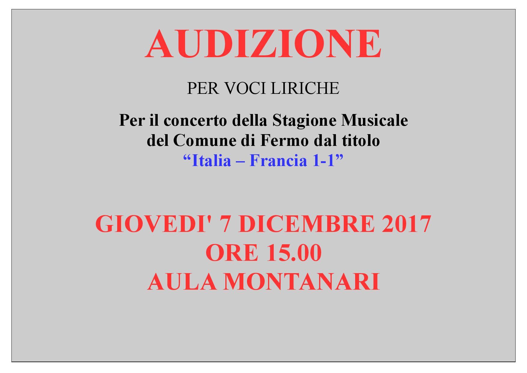 DATA AUDIZIONI ITALIA-FRANCIA