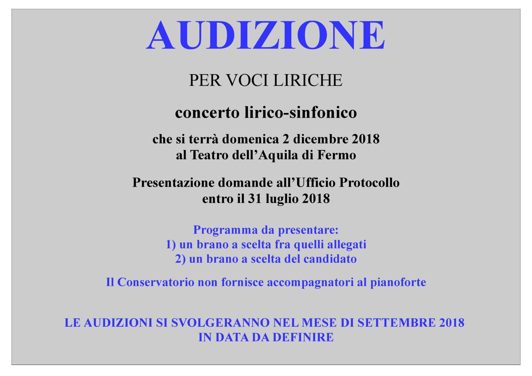 Avviso Audizioni Concerto lirico-sinfonico 2 dicembre