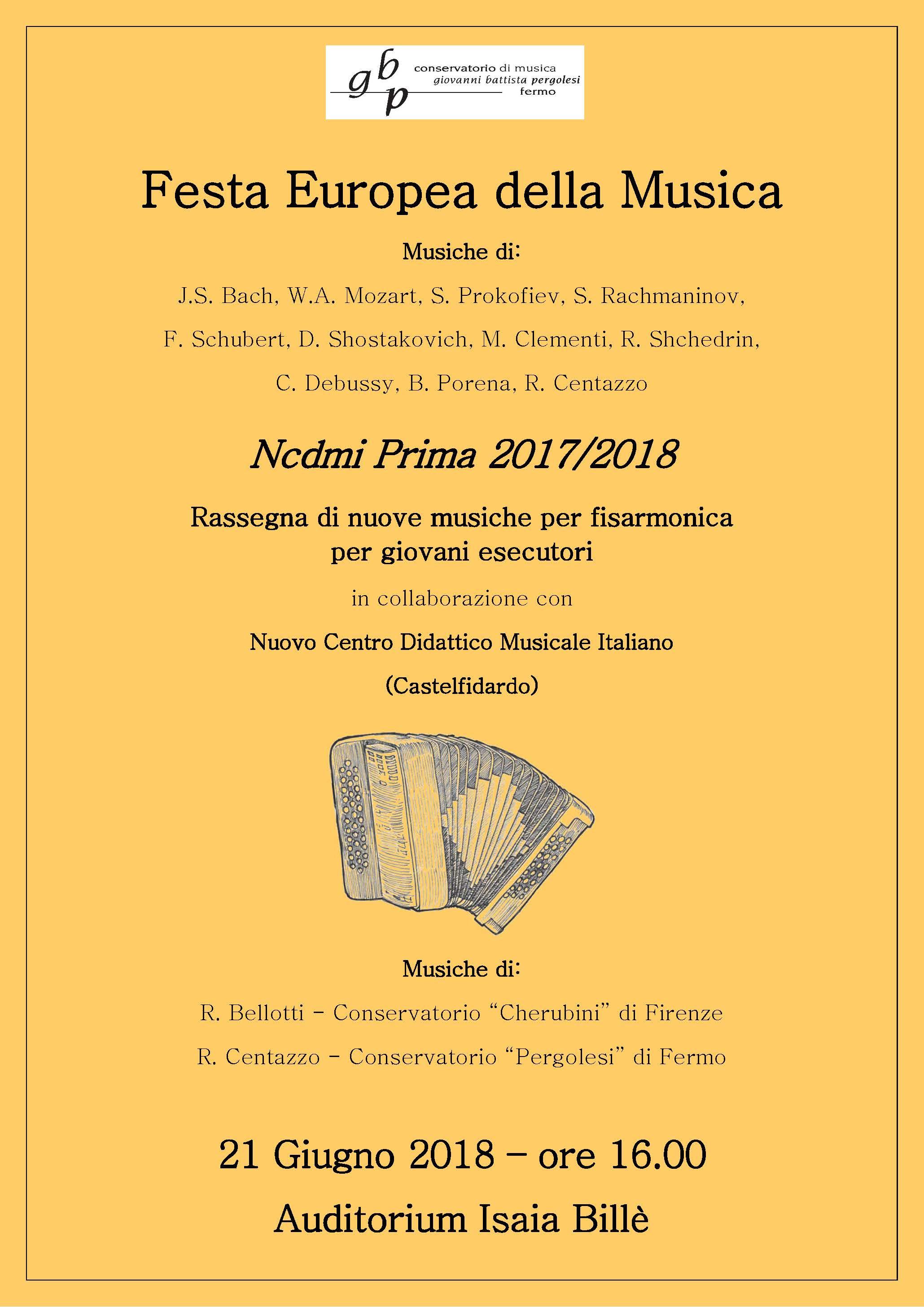 Locandina Festa della musica 2018 - fisarmonica