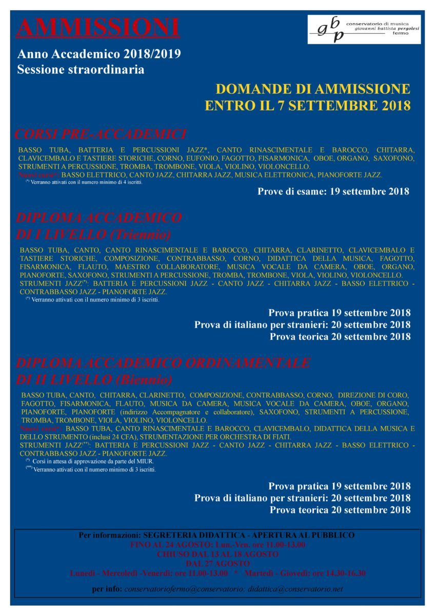 Locandina ammissioni 2018-19 (sess. settembre)