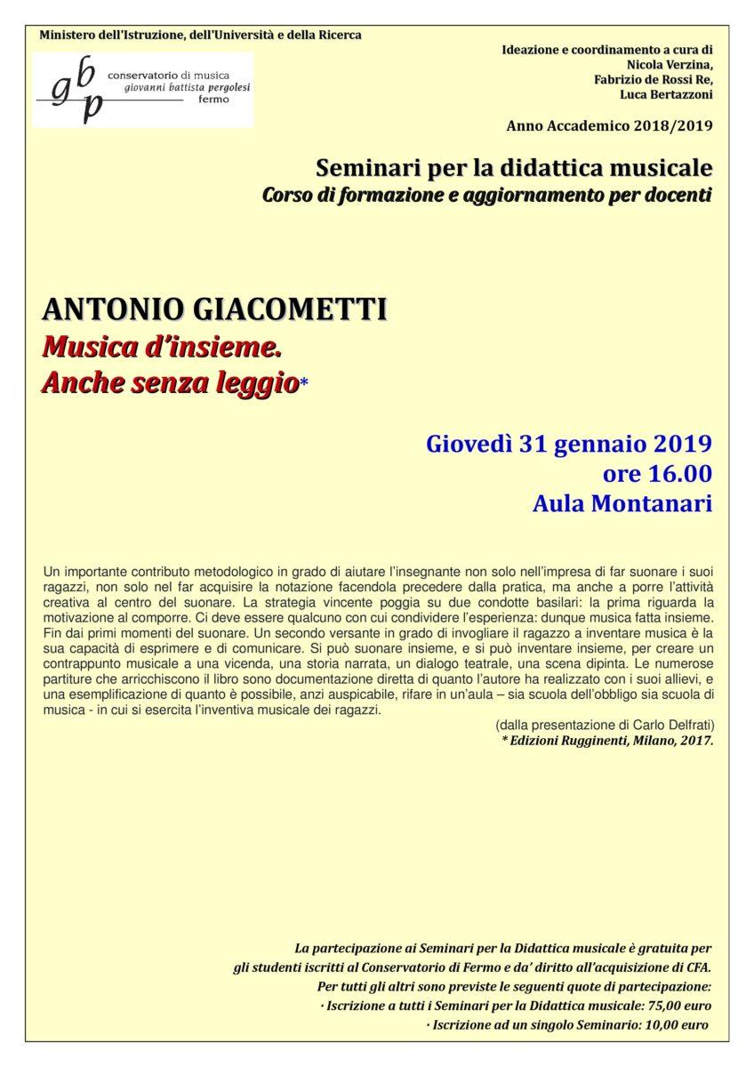 Locandina seminario Giacometti