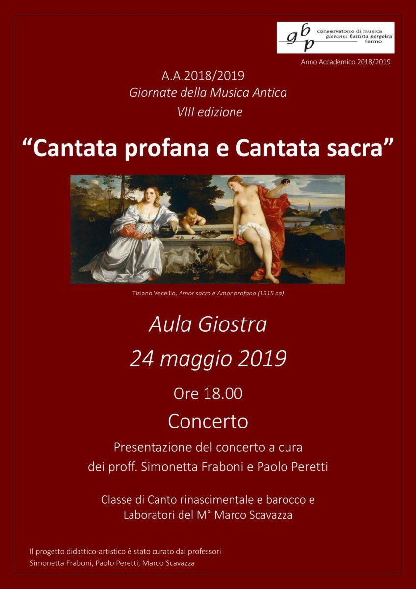 Locandina Giornate della Musica Antica 2019 - Cantata