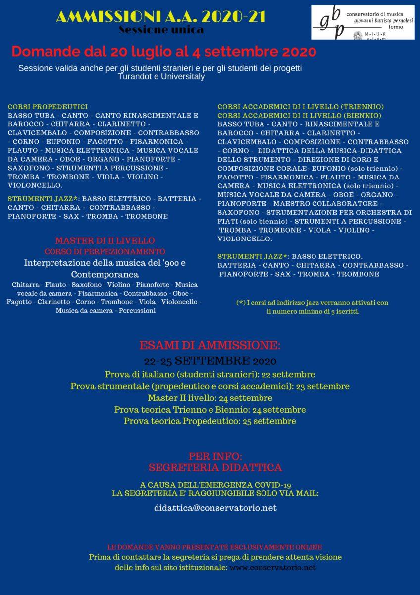 Locandina ammissioni 2020-21