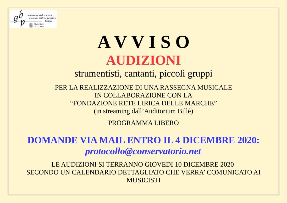 AVVISO AUDIZIONI RETE LIRICA 10 DIC 2020