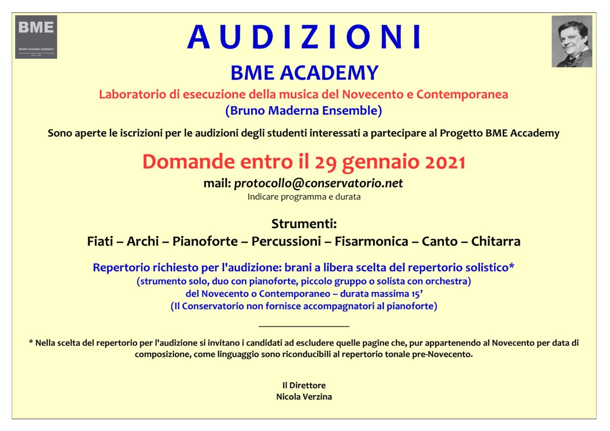 AVVISO AUDIZIONI BME ACCADEMY