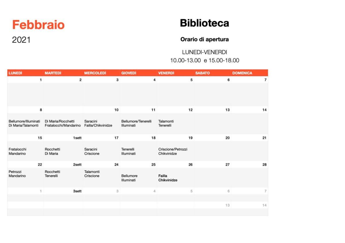 Febbraio Orario Biblioteca