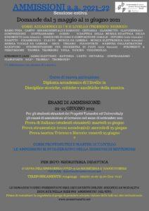 Locandina ammissioni 2021-22 (sess. giugno)
