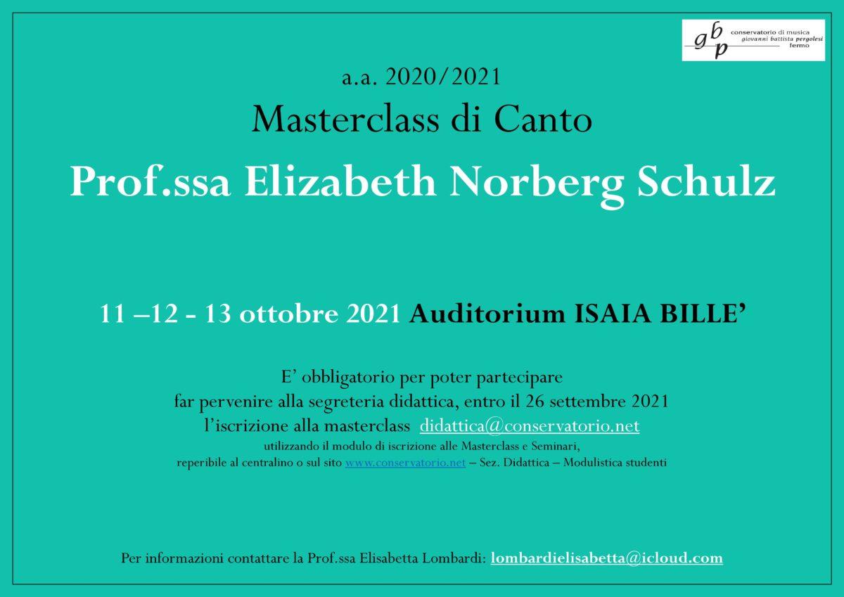 Locandina masterclass di canto Norberg Schulz