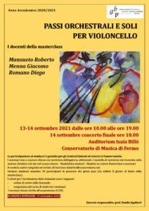 Locandina Masterclass I violoncellisti di Santa Cecilia 2020-21 - SEDE