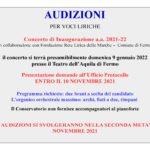 AVVISO AUDIZIONI CONCERTO INAUGURAZIONE 2021-22
